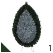 Coroana funerara artificiala plastic nr.1 verde cu alb