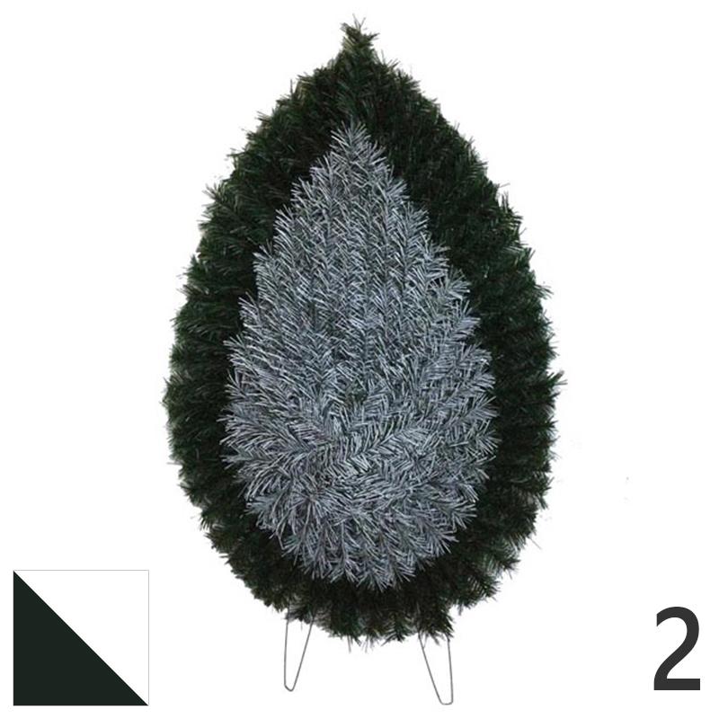 Coroana funerara artificiala plastic nr.2 verde cu alb