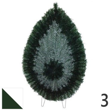Coroana funerara artificiala plastic nr.3 verde cu alb var.2