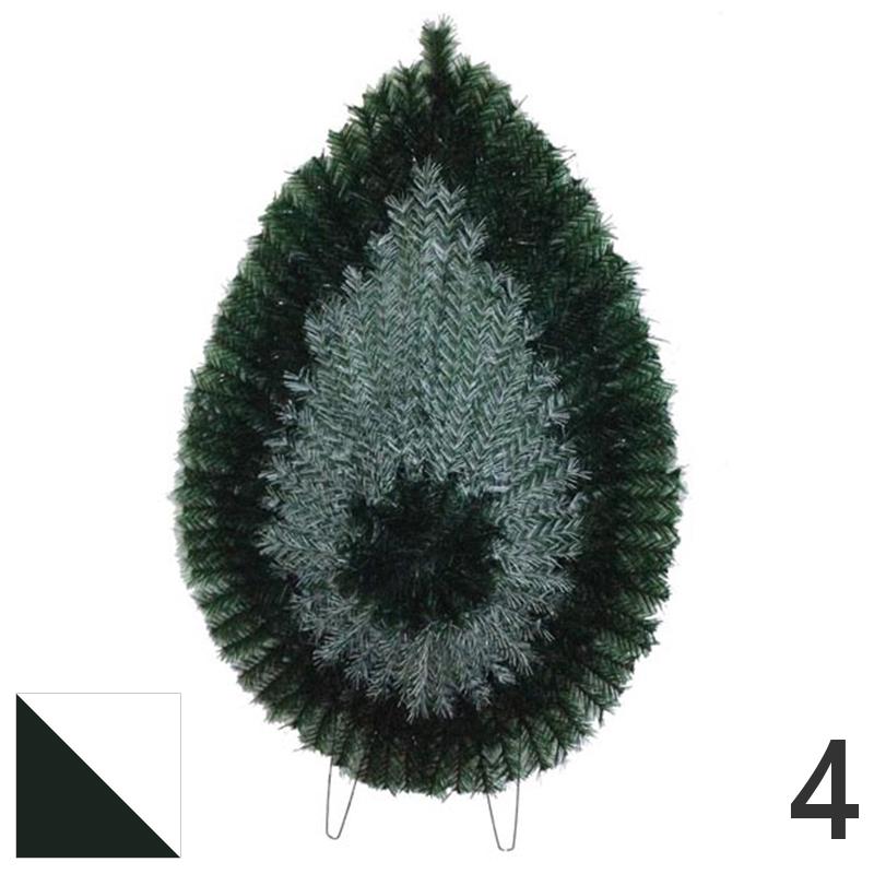 Coroana funerara artificiala plastic nr.4 verde cu alb var.2
