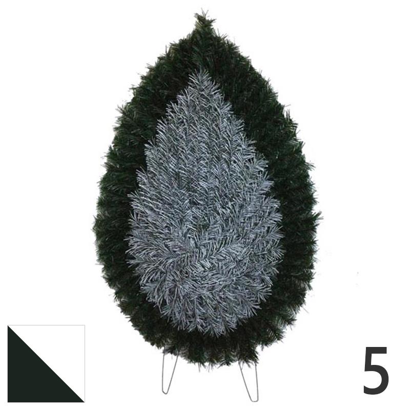 Coroana funerara artificiala plastic nr.5 verde cu alb